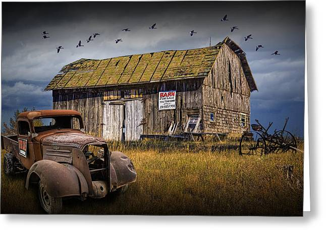 Unique Photographs Greeting Cards - Old Vintage Truck and Wooden Barn for Sale Greeting Card by Randall Nyhof