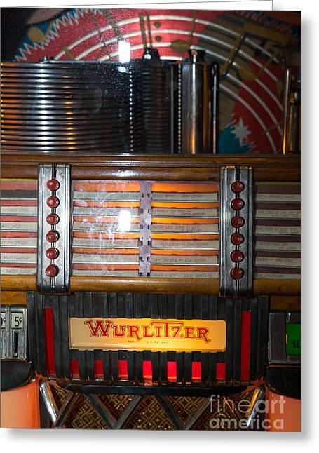 Music Ipod Greeting Cards - Old Vintage Wurlitzer Jukebox DSC2705 Greeting Card by Wingsdomain Art and Photography