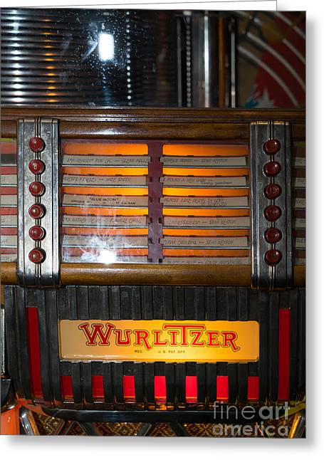 Music Ipod Greeting Cards - Old Vintage Wurlitzer Jukebox DSC2706 Greeting Card by Wingsdomain Art and Photography