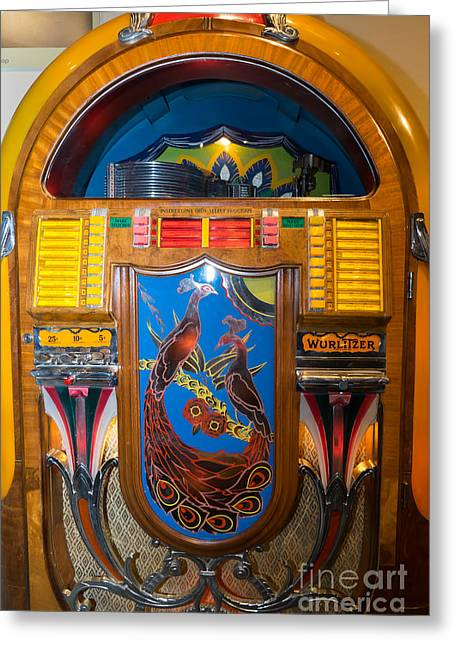 Music Ipod Greeting Cards - Old Vintage Wurlitzer Jukebox DSC2778 Greeting Card by Wingsdomain Art and Photography