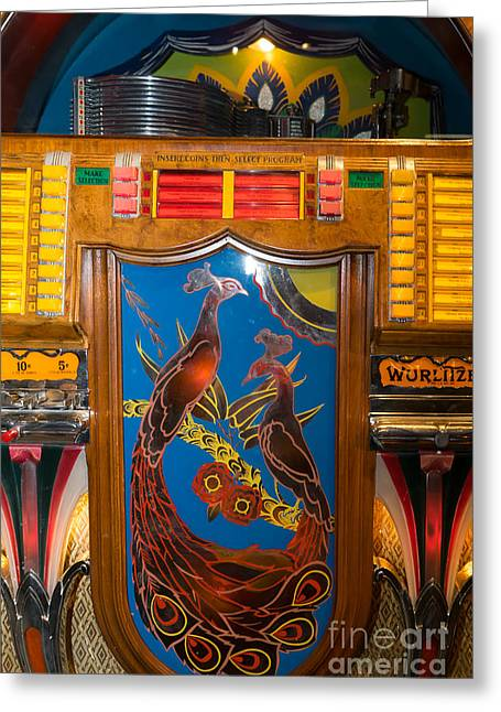 Music Ipod Greeting Cards - Old Vintage Wurlitzer Jukebox DSC2779 Greeting Card by Wingsdomain Art and Photography