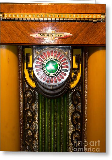 Music Ipod Greeting Cards - Old Vintage Wurlitzer Jukebox DSC2806 Greeting Card by Wingsdomain Art and Photography