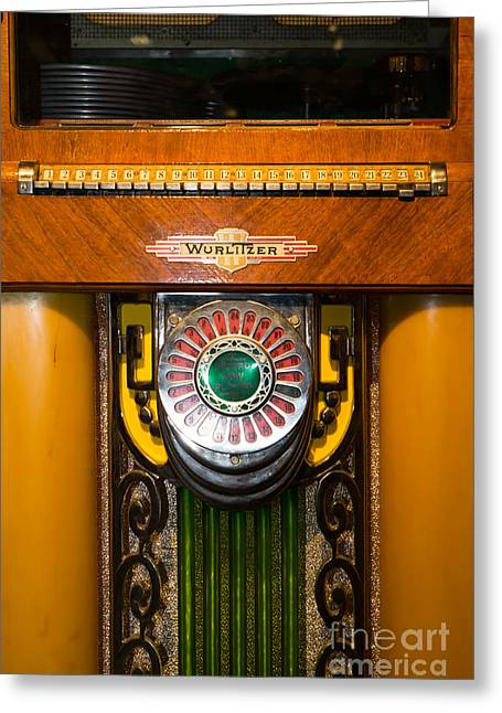 Music Ipod Greeting Cards - Old Vintage Wurlitzer Jukebox DSC2808 Greeting Card by Wingsdomain Art and Photography