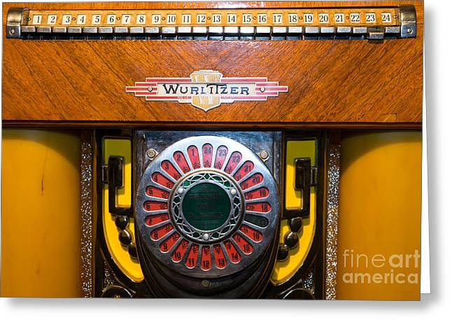 Music Ipod Greeting Cards - Old Vintage Wurlitzer Jukebox DSC2809 Greeting Card by Wingsdomain Art and Photography