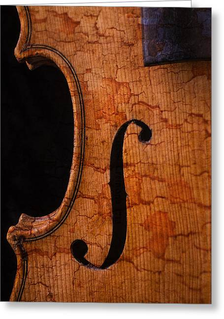 Virtuoso Greeting Cards - Old Violin Close Up Greeting Card by Garry Gay