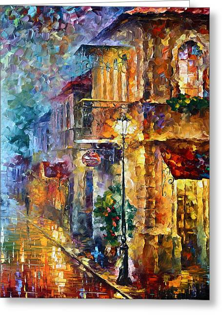 Light Pole Greeting Cards - Old Vitebsk part 2 - right Greeting Card by Leonid Afremov