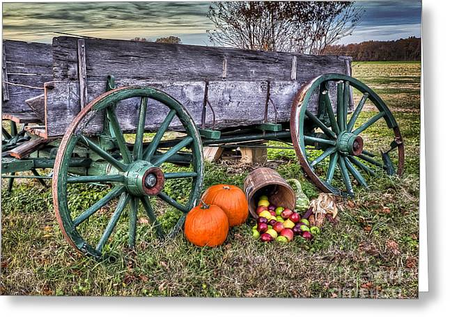 Harvest Time Greeting Cards - Old wagon at Harvest time Greeting Card by  Gene  Bleile Photography