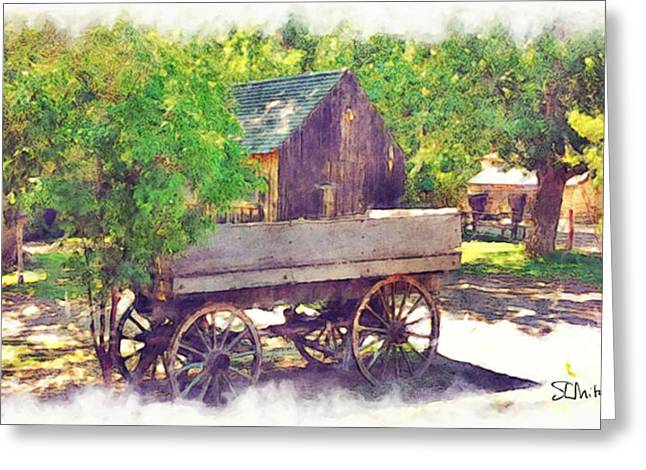 Artography Paintings Greeting Cards - Old Wagon at Wheeler Farm Greeting Card by Stephen Mitchell