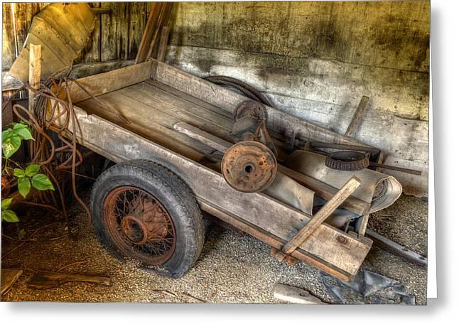 Axle Gear Greeting Cards - Old Wagon in the Barn Greeting Card by Geoffrey Coelho