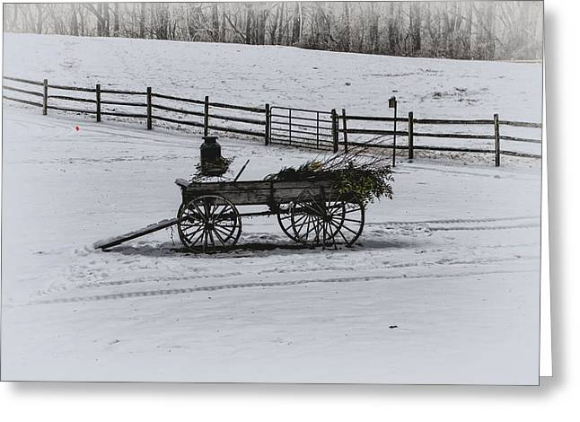 Old Wagon In The Snow - Chester County Pa Greeting Card by Bill Cannon