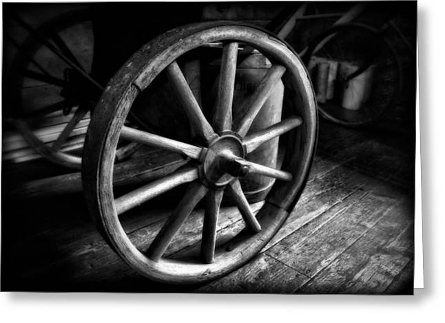 Old Wagon Greeting Cards - Old Wagon Wheel Black And White Greeting Card by Dan Sproul