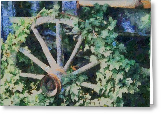 Rucker Greeting Cards - Old Wagon Wheel Greeting Card by Dan Sproul