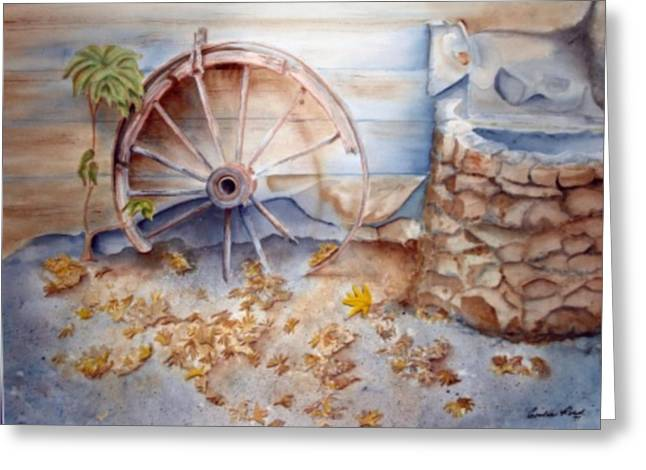 Wooden Wagons Paintings Greeting Cards - Old Wagon Wheel Greeting Card by Emilee Reed
