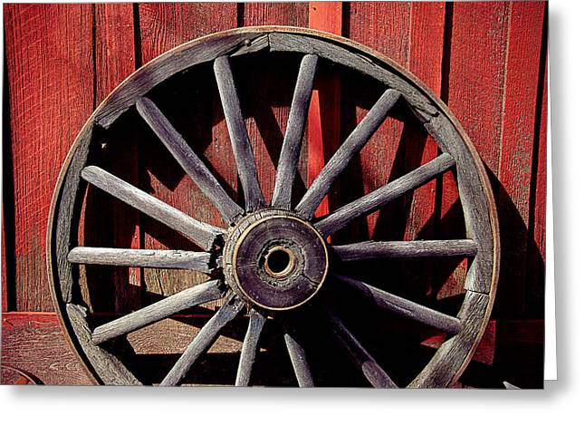 Wooden Wagons Greeting Cards - Old Wagon Wheel Greeting Card by Garry Gay