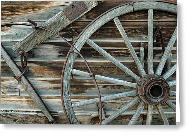 Gold Trout Greeting Cards - Old Wagon Wheel in Nevada City Montana Greeting Card by Bruce Gourley