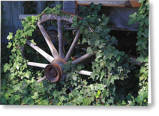 Wooden Wagons Greeting Cards - Old Wagon Wheel On The Farm Greeting Card by Dan Sproul