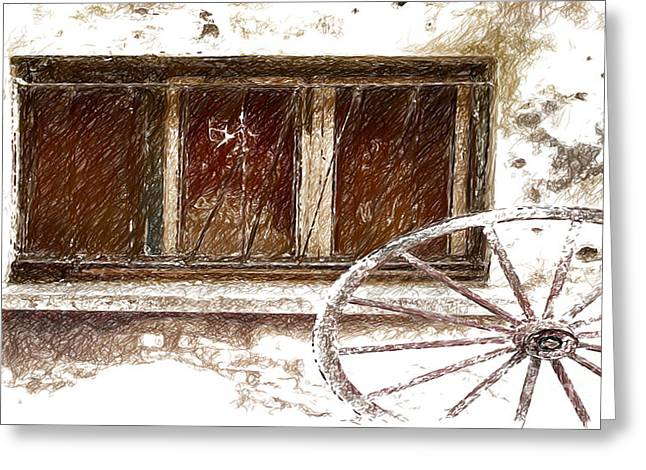 Old Digital Art Greeting Cards - Old Wagon Wheel Sketch Greeting Card by Beverly Guilliams