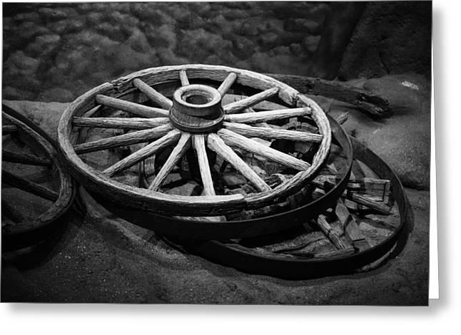 Wagon Wheels Greeting Cards - Old Wagon Wheels Greeting Card by Paul Freidlund
