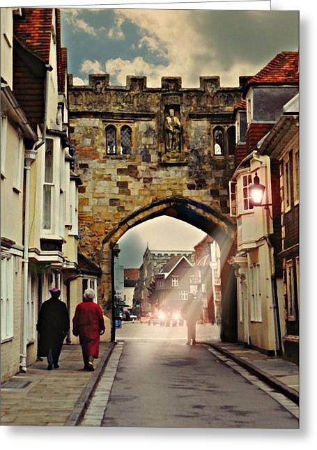 Old Street Greeting Cards - Old Wall Salisbury Greeting Card by Diana Angstadt