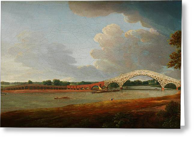 Francis Drawings Greeting Cards - Old Walton Bridge Greeting Card by Francis Towne