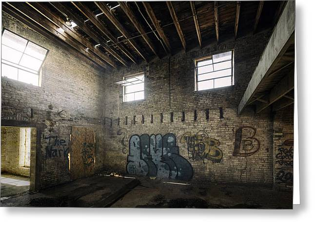 Warm Tones Greeting Cards - Old Warehouse Interior Greeting Card by Scott Norris