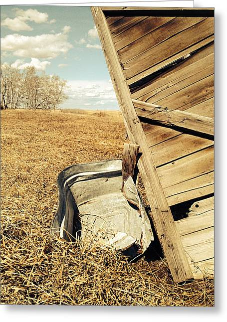 Rustic Photo Greeting Cards - Old Wash Basin  Greeting Card by Jerry Cordeiro