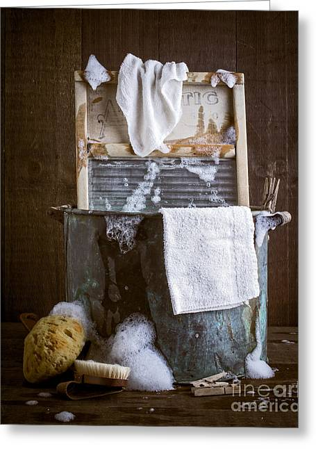 Old Washboards Photographs Greeting Cards - Old Wash Tub Greeting Card by Edward Fielding