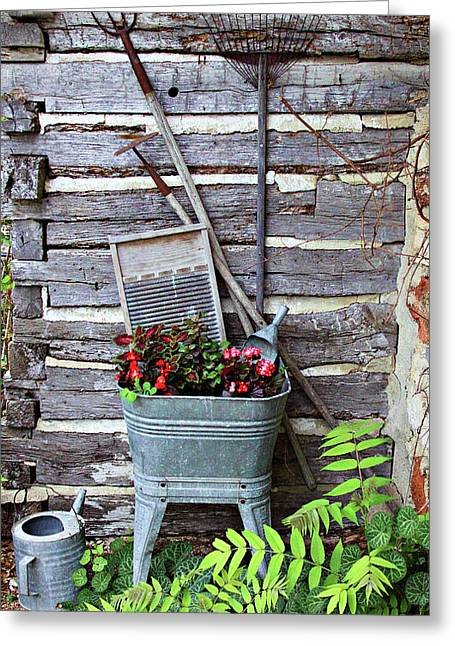 Sprinkling Can Greeting Cards - Old Wash Tub of Flowers Greeting Card by Linda Phelps