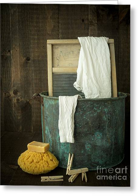 Texting Photographs Greeting Cards - Old Washboard Laundry Days Greeting Card by Edward Fielding