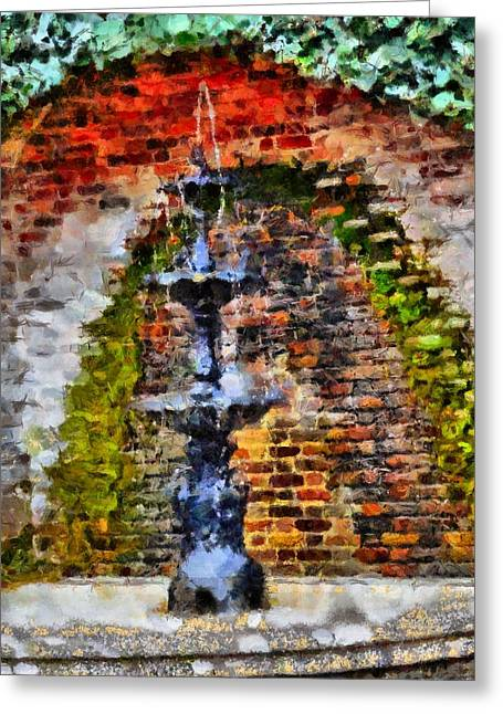 Gatlinburg Tennessee Greeting Cards - Old Water Fountain Greeting Card by Dan Sproul