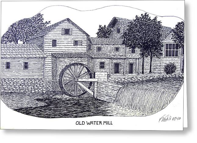 Pen And Ink Rural Drawings Greeting Cards - Old Water Mill Greeting Card by Frederic Kohli