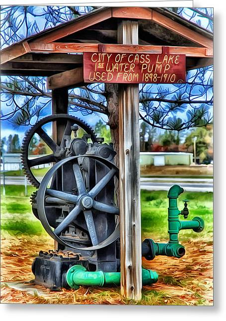 Logging Tractor Greeting Cards - Old Water Pump 1898-1910 Greeting Card by Todd and candice Dailey