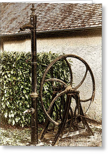 Fountain Photograph Greeting Cards - Old Water Pump Greeting Card by Olivier Le Queinec