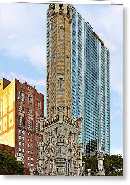 Famous Place Greeting Cards - Old Water Tower Chicago Greeting Card by Christine Till