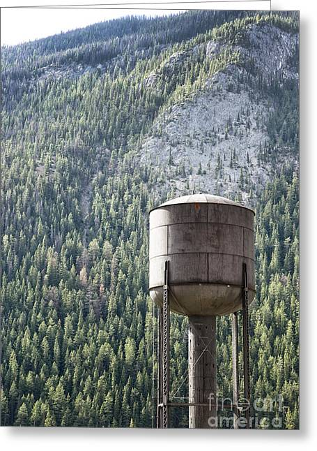Public Water Supply Greeting Cards - Old water tower in the Rockies Greeting Card by Sandra Cunningham