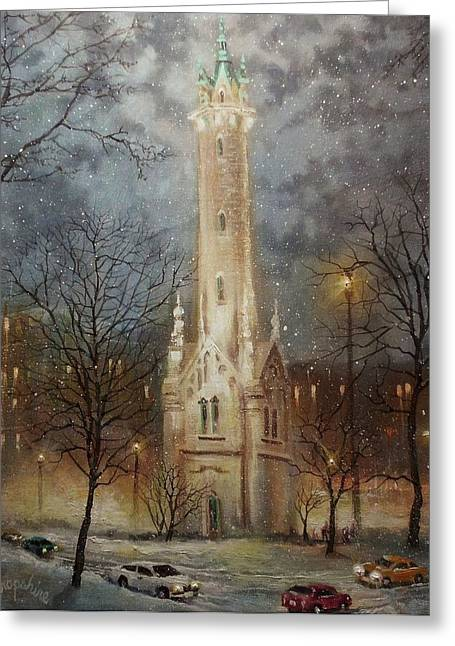 Snow Scenes Greeting Cards - Old Water Tower Milwaukee Greeting Card by Tom Shropshire