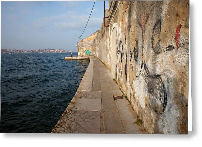 Quay Wall Greeting Cards - Old Waterfront in Almada Greeting Card by Artur Bogacki