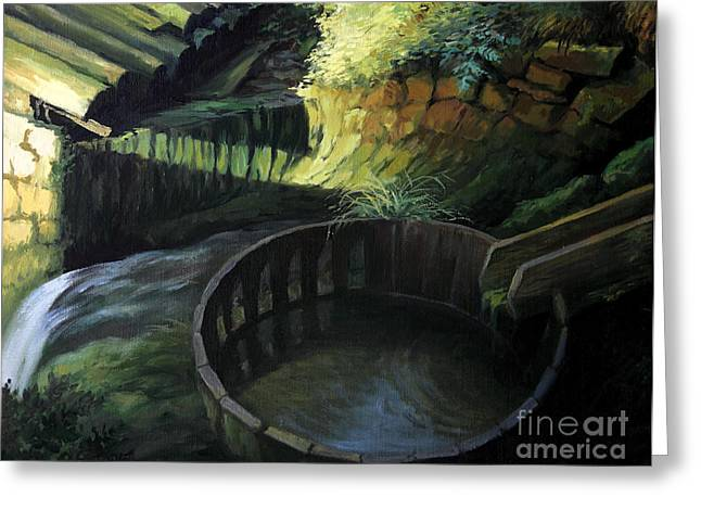 Mechanism Paintings Greeting Cards - Old Watermill Greeting Card by Kiril Stanchev