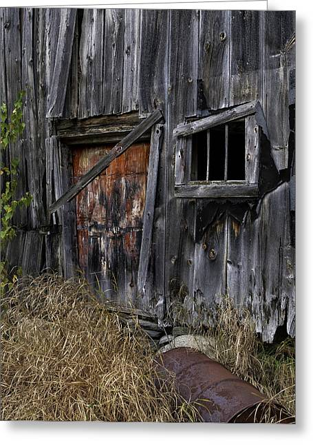Old Rustic Barn And Barrel Greeting Cards -  Rustic Barn of the Maine Woods Greeting Card by Thomas Schoeller