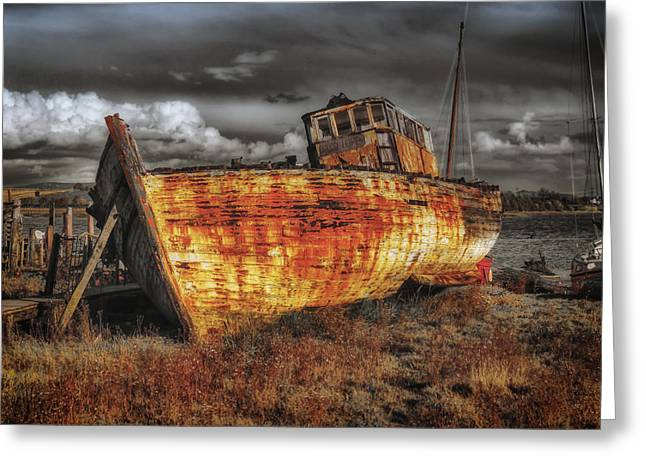 Painted Wood Greeting Cards - Old Weathered Boat in England Greeting Card by Mountain Dreams