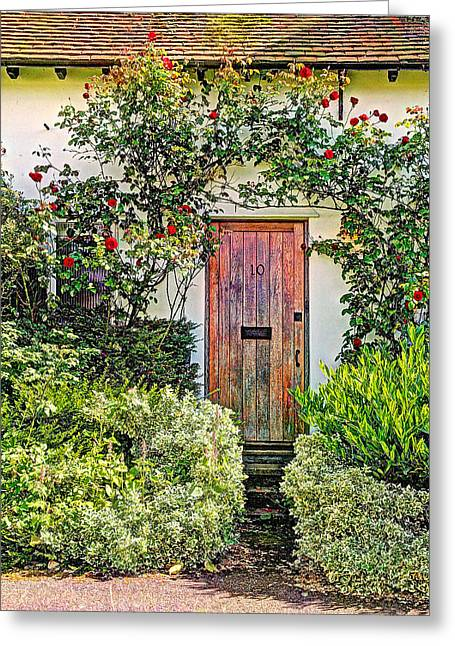 Entryway Greeting Cards - Old Weathered Cottage Door Greeting Card by Gill Billington