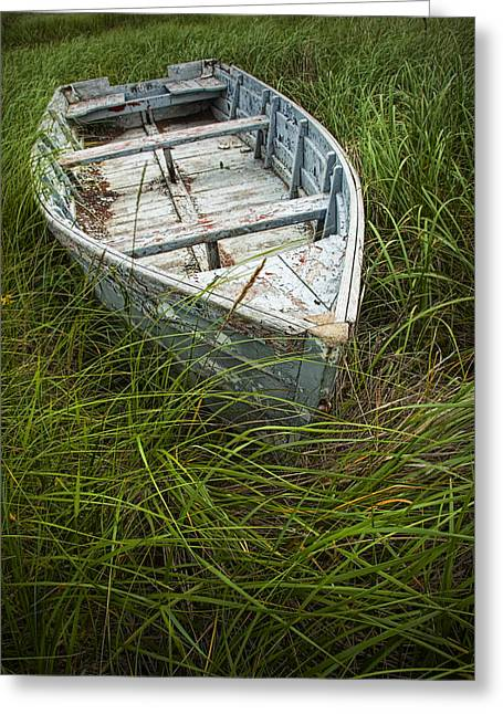 Dingy Greeting Cards - Old Weathered Row Boat abandoned in the Grass on PEI No.032 Greeting Card by Randall Nyhof