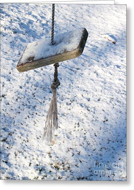 Snowstorm Greeting Cards - Old Weathered Swing in Snow Greeting Card by Anna Lisa Yoder
