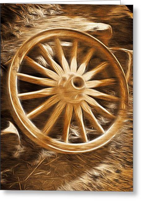 Wagon Mixed Media Greeting Cards - Wheels West Greeting Card by Aaron Berg