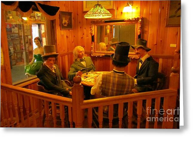 Old West Postcards Greeting Cards - Old West Card Game Greeting Card by John Malone