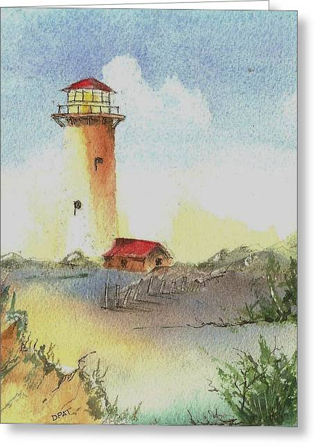 California Sea Lions Paintings Greeting Cards - Old west coast lighthouse Greeting Card by David Patrick
