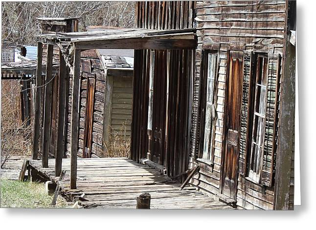 False Front Buildings Greeting Cards - Old West Greeting Card by Mark Eisenbeil
