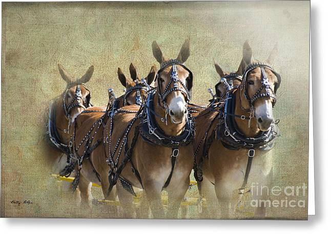 Betty Larue Greeting Cards - Old West Mule Train Greeting Card by Betty LaRue