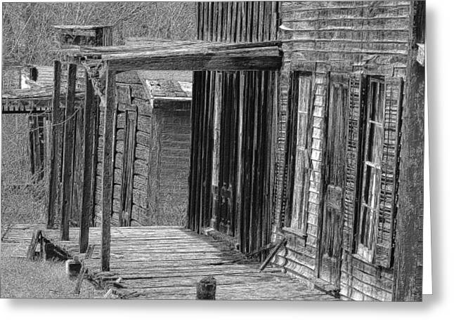 Old Barn Drawing Greeting Cards - Old West            Pencil Greeting Card by Mark Eisenbeil