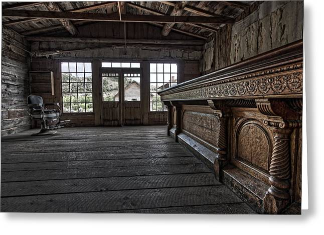 Miners Ghost Greeting Cards - Old West Saloon Bar -- Bannack Ghost Town Montana Greeting Card by Daniel Hagerman